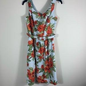 AGB Soft-Blue Orange Tropical-Print Pleated Dress